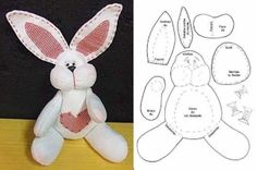 Crafts and Cia: Bunnies with molds - Stofftiere Felt Animal Patterns, Stuffed Animal Patterns, Stuffed Animals, Rabbit Toys, Bunny Toys, Bunnies, Bunny Rabbit, Felt Bunny, Bunny Crafts