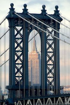 Manhattan Bridge, Empire State Building in background, New York City Places Around The World, The Places Youll Go, Places To See, Around The Worlds, Manhattan Bridge, Brooklyn Bridge, Manhattan Nyc, Photo New York, Empire State Of Mind