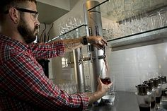 Two years ago, TreeHugger emeritus Ruben Anderson wrote New Wine in Old Bottles for the Tyee, making the case for refillable bottles filled with local wine: Back Bar, Metal, Ceiling Lights, Green, Alternative, Bottles, Barrel, Wine, Metals