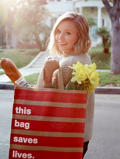 A cute tote from Kristen Bell that helps save lives
