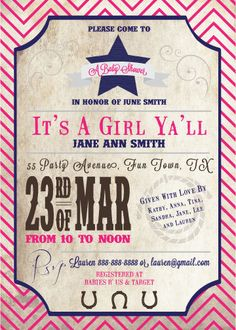 Cowgirl Baby Shower Invitation   Cowgirl Baby Shower   Western Baby Shower    Rustic Baby Shower   Printable Cowgirl Baby Shower | Cowgirl Baby Showers,  ...