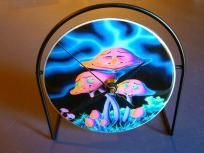 Colorful Happy Mushrooms Recycled CD Clock Art