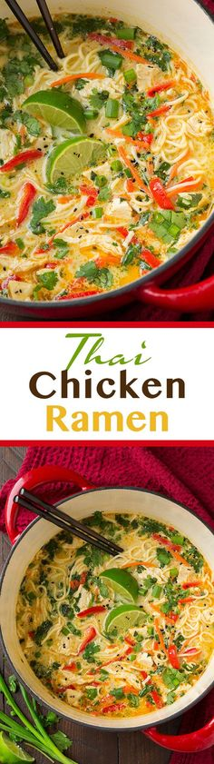 Chicken Ramen - this is AMAZING! Easy to make and seriously so good! Definitely add the peanuts!Thai Chicken Ramen - this is AMAZING! Easy to make and seriously so good! Definitely add the peanuts! Asian Recipes, New Recipes, Soup Recipes, Chicken Recipes, Cooking Recipes, Healthy Recipes, Thai Chicken Soups, Dinner Recipes, Healthy Breakfasts