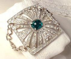 Original 1920s Art Deco Emerald Green & Clear Pave Rhinestone Buckle Wide Cuff Bracelet, Vintage Heirloom Buckle to OOAK Flapper Bracelet