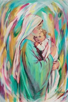 painting by krystal meldrum or mary and baby jesus green robe mary holding baby on her chest babys eyes are open fist up by his face white pink orange yellow colors Mother Mary Images, Images Of Mary, Religious Pictures, Jesus Pictures, Blessed Mother Mary, Blessed Virgin Mary, Catholic Art, Religious Art, Religious Paintings