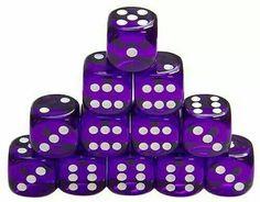 Even Dozen Clear Purple Dice with White Dots Purple Love, All Things Purple, Purple Lilac, Shades Of Purple, Deep Purple, Purple Stuff, Periwinkle, Teal, Mauve