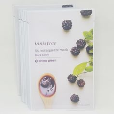 Innisfree It's Real Squeeze Facial Masks Black Berry 20ml 3/8/16/35 Sheets Lot #Innisfree