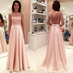 A line Sexy Open Back Long Sleeves Blush Prom Dress
