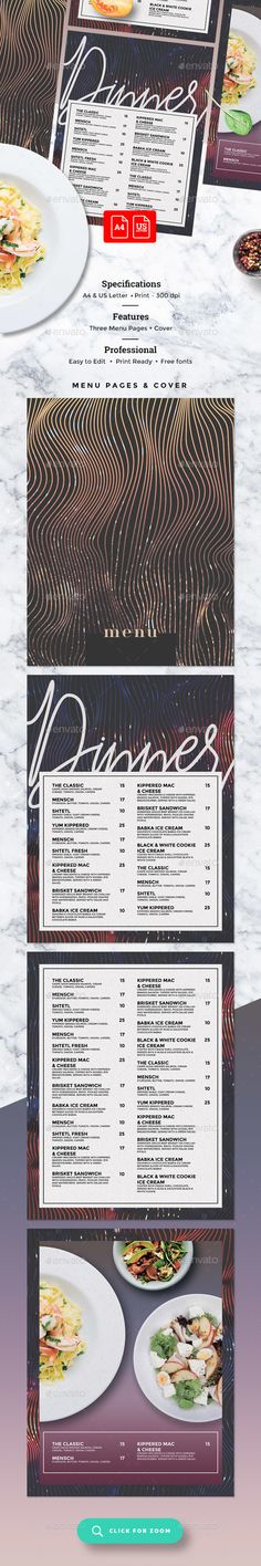 Tri-Fold Food Menu Template (Light) Print, Template and - food menu template