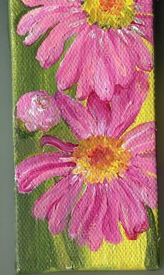 Pink Shasta Daisies Painting on Mini Canvas with Easel
