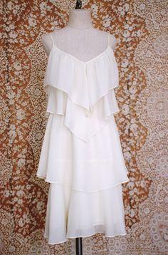 vintage 1970's white chiffon tiered dress / by FancyFineVintage
