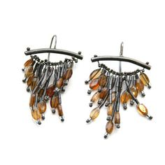 Citrine deco earrings, made with oxidized sterling silver by Karen Gilbert. Gallery Lulo.