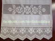 Toalha de rosto com crivo de Toledo Crochet Edging Patterns, Drawn Thread, Soft Towels, Filet Crochet, Free Pattern, Diy And Crafts, Cross Stitch, Embroidery, Knitting
