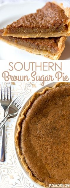 Southern Brown Sugar Pie with butter, eggs & sugar!  If you've never tried this brown sugar pie, it's a must!