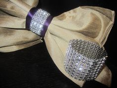 Budget friendly bling rhinestone napkin holder cuffs for weddings or napkin rings rhinestone crystal feather diy wedding solutioingenieria Images