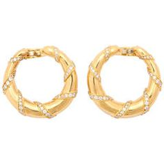 Cartier Paris Diamond Gold Hoop Earclips