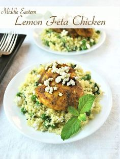 Grain free cauliflower rice with a Middle Eastern flare! Perfect with our Middle Eastern Lemon Feta Chicken! Feta Chicken, Chicken Spices, Chicken Seasoning, Lemon Chicken, Chicken Recipes, Feta Cheese Nutrition, Green Grapes Nutrition, Feta Cheese Recipes, Food Nutrition