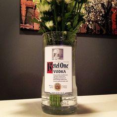 Kettle One Vodka Bottle Flower Vase by Rehabulous on Etsy, $22.00