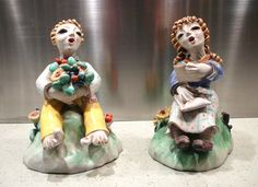 Signed Pair of Leopold Anzengruber For Zaccagnini Italy Figurines 1936-38