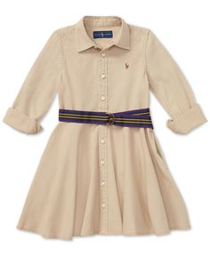 With a classic fit-and-flare silhouette and a matching belt, this chino shirtdress from Polo Ralph Lauren is a charming pick for parties and family photos. Dresses Kids Girl, Girl Outfits, Toddler Outfits, Girls Belts, Cotton Shirt Dress, Ralph Lauren Kids, Review Dresses, Belted Dress, Baby Clothes Shops