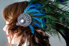 Tribal burlesque peacock and rooster feather head by WilyWorks, $75.00