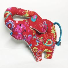 Elephant rattle Baby sensory soft toy out of red by RBQuery