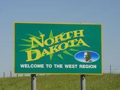 Welcome to North Dakota sign.