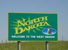 Welcome to North Dakota sign.