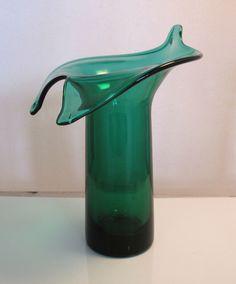 Vintage Green Blenko Art Glass Flower Vase