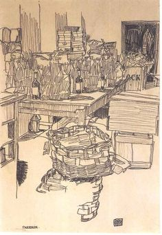 """Packing Room"", 1917, Egon Schiele."