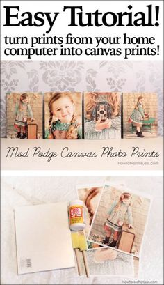 Mod Podge canvas photo prints. Just print out on your home computer, a little Mod Podge and put on canvas board. Smart!