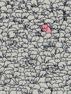 Be different-elefant wallpaper Image Elephant, Elephant Love, Elephant Art, Elephant Sketch, Elephant Stuff, Flying Elephant, Baby Elephants, Elephant Tattoos, Illustrations