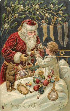 Una Bon Nadal Santa que dóna un horsetoy a un nen petit, nen pijama blanc, vesc sobre