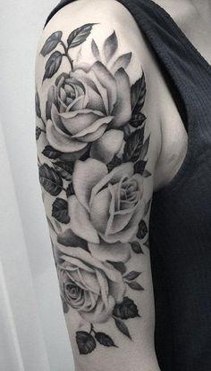Black and White Rose Tattoo Ideas for Women - Flower Arm Sleeve - http://MyBodiArt.com