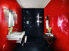 Картинки по запросу красно черная ванная комната