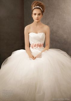 white by vera wang 2011 - Ball Gown with Asymmetrically Draped Bodice Style VW351007