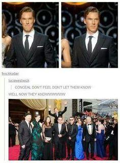 """Well, now they knooooooow!"" Benedict Cumberbatch at the 2014 Oscars."