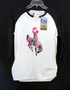 OUTBACK TRADING Co. Shirt BRONC RIDER RODEO Baseball Tee GYPSY COWGIRL NWT  B M #outbacktradingco #TOP