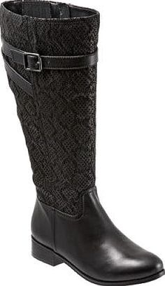 Trotters Women's Shoes in Black Embossed Snake Color. The Lyra boot from Trotters combines old-world charm with a sleeker silhouette. Knee-high riding boot style Low heel Inside zipper.