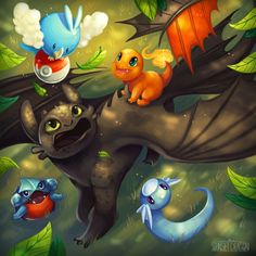 Toothless and pokemon