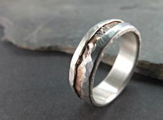rugged bronze silver ring rustic silver bronze ring by CrazyAssJD