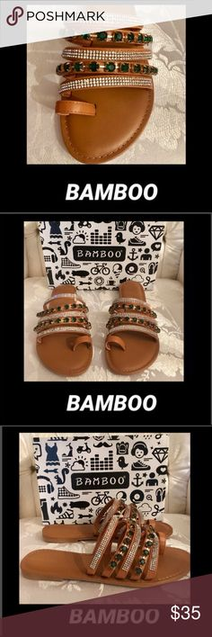 🦋Bamboo•Festival Jeweled Flat Bamboo•Festival Jeweled Flat  Attend your favorite music festival with these dazzling flat sandal featuring parallel cage straps, emerald green rhinestone encrusted straps and large jewel stones on every other straps.  Original box included BAMBOO Shoes Flats & Loafers