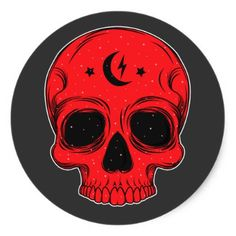 #Classic Skull Illustration Classic Round Sticker - #Halloween happy halloween #festival #party #holiday