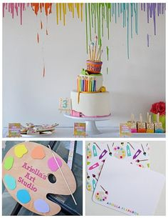 Art Themed 3rd Birthday Party via KARA'S PARTY IDEAS KARASPARTYIDEAS.COM The Place for All Things Party! Cake, decor, printables, favors, and more! #art #artparty #artpartysupplies #karaspartyideas #girlparty #artsupplies #artcake #partyplanning (16)