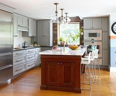 Contrasting Kitchen Islands Whether you have a lot of cabinetry or a little, an island in a contrasting color adds interest to any kitchen.