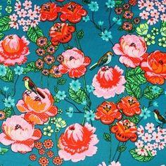 Trikoo: Flowers and birds, tumma petrooli / Majapuu design Birds, Flowers, Design, Bird, Royal Icing Flowers, Flower, Florals, Floral