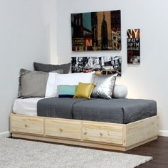 Twin Captains Bed With 3 Drawers On Metal Tracks In Pine