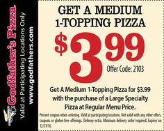 Get 1 Godfather's Pizza coupon codes and promo codes to save. Save with Godfather's Pizza Promotion on Selected Porducts at mountainmikes.com.