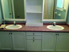 large bathroom mirror redo to double framed mirrors and cabinet, bathroom ideas, home decor, shelving ideas, we also spray painted the knobs a brushed nickel Bathroom Mirror Redo, Floor Mirror, Bathroom Ideas, Bath Ideas, Bathroom Hacks, Hall Bathroom, Bathroom Designs, Bathroom Storage, Modern Bathroom