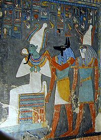 The gods Osiris, Anubis and Horus at the judging of the deceased Osiris was the god who the deceased came before in order to be judged.  Anubis leads the soul to be judged while Horus presents the deceased to his father Osiris.  This is quite the intimidating scene.
